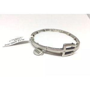 New Alex and Ani Trident Wrap Bracelet Silver Tone